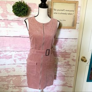 FOREVER 21 PINK VELVET SLEEVELESS BELTED Dress M